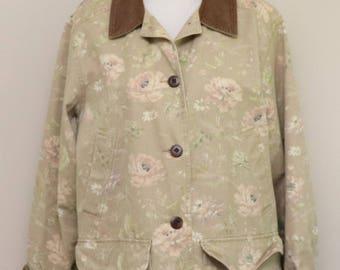 Womens tan pink floral rose cotton corduroy collar jacket/ L.L.Bean