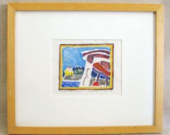 Vintage Monotype Print, Original Fine Art, Edith Wright, Islesford Artist, Nautical, Coastal, Seaside, Colorful, Small, Framed, Beach House