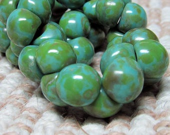 Czech Glass Beads 9 X 8mm Smooth Shiny Mint Green Speckled with Olive Accents Buttons - 30 Pieces