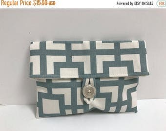 ON SALE Blue/Gray and Cream Makeup Bag