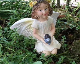 SALE Fairy Figurine, Kneeling Fairy With Snail, Glittered Wings, Fairy Garden Figurine, Miniature Home and Garden Decor, Crafts, Topper