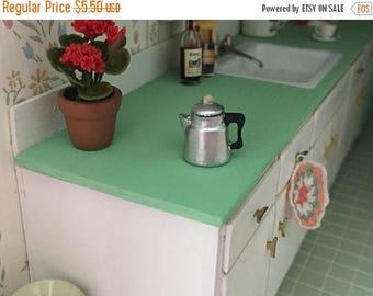 SALE Miniature Percolator, Mini Coffee Pot with Lid, Vintage Look Coffee Pot, Dollhouse Miniature, 1:12 Scale, Dollhouse Decor, Accessory, C