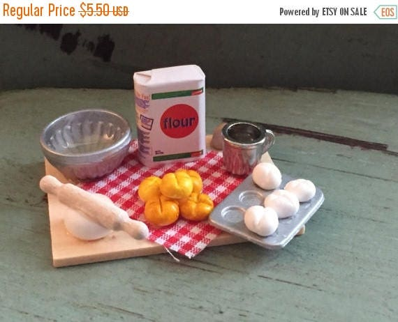 ON SALE Miniature Baking Bread, Prep Board by Timeless Minis,  Baking Set Includes, Flour, Bread, Measuring Cup, Eggs