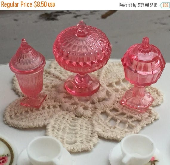 ON SALE Candy Dish Set, Dollhouse Miniatures, 1:12 Scale, Dollhouse Accessories, Decor, Pink Dishes, Miniature Dishes