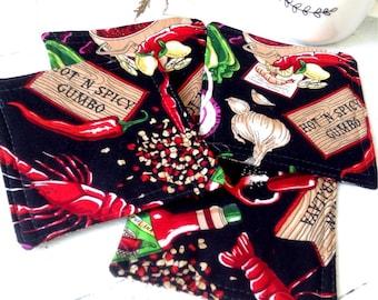 Cajun fabric coasters set of 4