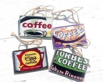 Coffee fabric Wood Signs - made from scraps of fabric. Fabric makes me Happy! 4 signs 2x3.
