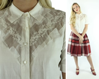50s White Cotton Embroidered Blouse Short Sleeve Shirt Button Up Top Vintage 1950s Medium M Pinup Rockabilly