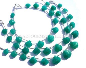 Supper Quality Amazonite beads, Heart  Faceted, (Quality AAA), 18 cm, 12 to 17.50 mm, AM-003, Semiprecious Gemstone beads, Craft Supplies