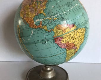 Small Vintage French Cram World Globe Home Decor