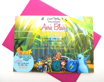 Beat Bugs Birthday Invitation with Envelope