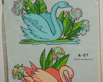 Pink Blue Swans Vintage Hand Painted Decorcal Decals 1981 A27