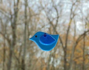 Fused glass bird, blue bird ornament, tree decoration, glass suncatcher, window suncatcher, tree decoration, Christmas ornament