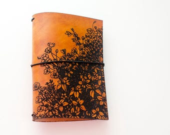 Custom Traveler's Notebook Cover // Flower Garden // Field Notes Pocket Size // Fits 3.5 x 5.5 inserts