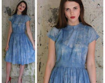 1940's Cotton Dress / Hand Indigo Dyed Dress / Forties Peter Pan Collar Dress / Summer Dress
