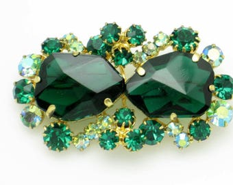 Verified JULIANA DeLizza and Elster  Emerald Glass Crystal Rhinestone Brooch Pin Vintage