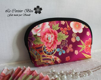 make up pouch - cosmetic pouch - golden Fucsia pink & blue - Akane
