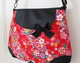 Crossbody hobo bag zipper closure  faux leather - red gold - Miya