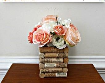 ON SALE Wine Cork Vase - Glass Insert - Wedding, Party, Modern Rustic Home Decor