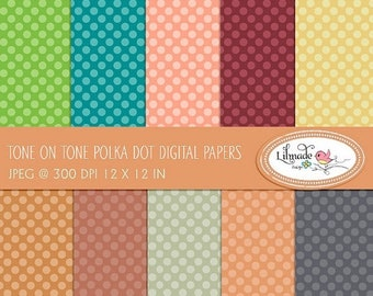 50%OFF Fall digital paper, tone on tone polka dot paper, commercial use. scrapbook paper, digital images, digital download