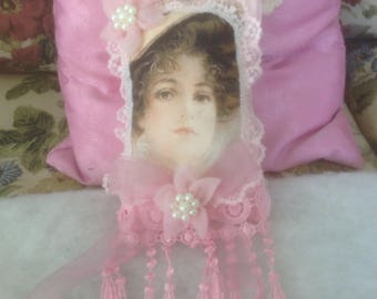 8 inch sachet with image of Victorian lady trimmed in lace