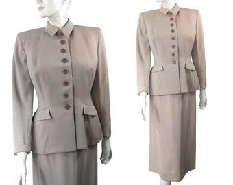 Hourglass Vintage Late 1940s Gabardine Cool Gray Dress SUIT Jacket with Long Skirt