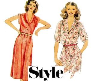 Style 2631 Womens Shawl Collar Dress 70s Vintage Sewing Pattern Size 14 Bust 36 Inches UNCUT Factory Folded