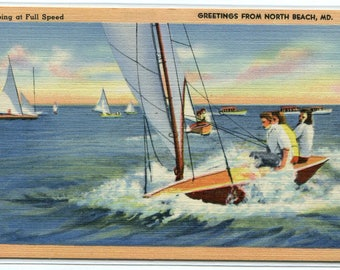 Sail Boat Yachting Full Speed North Beach Maryland linen postcard