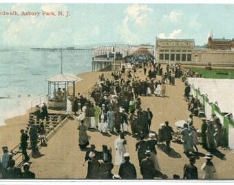 Boardwalk People Asbury Park New Jersey 1910s postcard