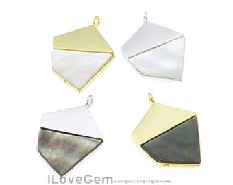 1pc, NP-1958 White/Black mother-of-pearl Shell Pendant, Brass Framed MOP Pendant, Geometric Necklace Pendant, Choose Colors