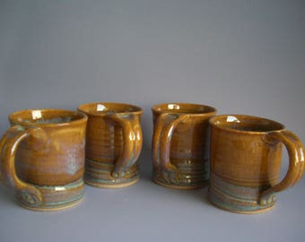 Hand thrown stoneware pottery mugs set of 4  (M-9)
