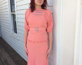 Vintage 30s Dress Peach Salmon 1930s Antique S