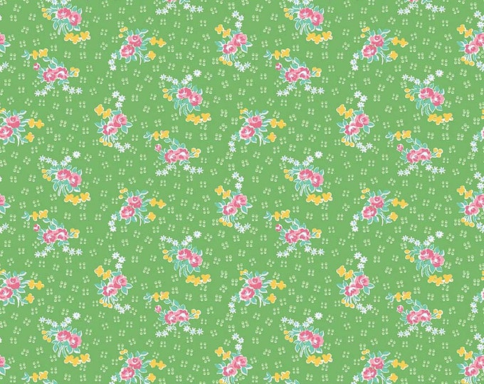 PRE-ORDER - Mae Flowers Fabric by Lindsay Wilkes from The Cottage Mama for Riley Blake Designs and Penny Rose Fabrics - Green Floral