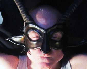 Leather Goat Satyr Mask, Vegetable Tanned Leather, Handmade, Hand Molded, Hand Carved, Hand Painted, Acrylic Top Coat, Doubled Elastic Strap