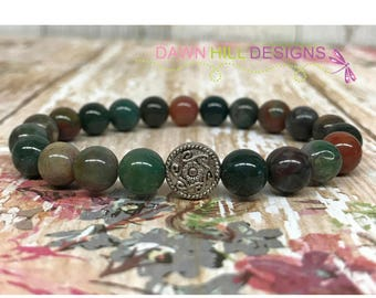 Bloodstone yoga bracelet Bloodstone Bracelet Crystal Healing Bracelet Simple Bracelet Chakra mens bracelet Reiki bracelet stretch bracelet