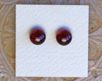 Dichroic Glass Earrings, Burgundy  DGE-1164
