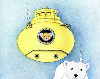 Walter the Red Panda and Jack the Polar Bear in a Yellow Submarine 8 x 10 inch Print by SBMathieu