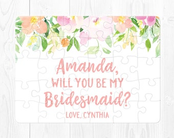 Bridesmaid Proposal Puzzle Will You Be My Bridesmaid Gift Custom Bridesmaid Gift Custom Bridesmaid Puzzle Personalized Bridesmaid Card Pink