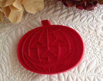 Tupperware Jack-o-Lantern Pumpkin Imprint Cookie Cutter Vintage 1960s Red Plastic