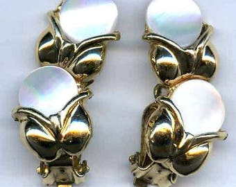Mother of Pearl Button Clip On  Earrings