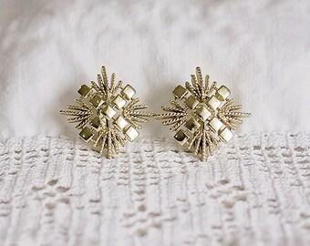 Golden Square Vintage Clip On Earrings