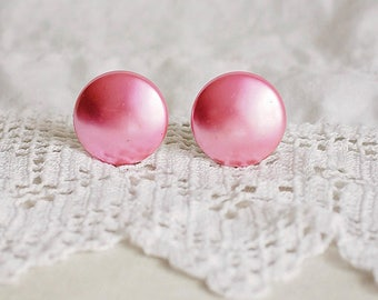 Pink Satin Button Clip On Earrings