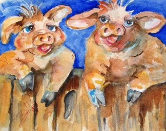 Happy Pigs 9x12 farm animal watercolor painting Art by Delilah