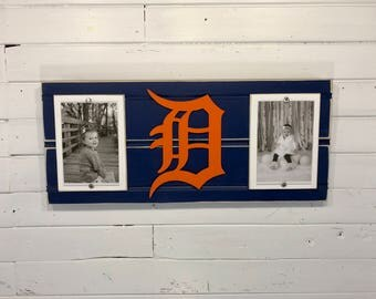 """Detroit Tigers old english D picture frame holds 2 4""""x6"""" photos decor"""