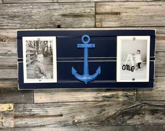 """Nautical/anchor frame holds 2 4""""x6"""" photos"""