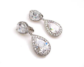 CLIP-ONS wedding bridal jewelry bridesmaid prom gift party pageant Clear white teardrop cubic zirconia teardrop cz rhodium post earrings