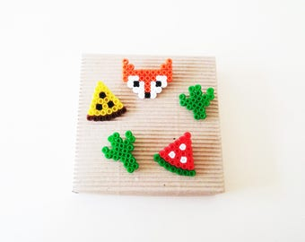 Pixel Art Brooch Set of 5, Fox, Pizza Slice, Cactus, Watermelon, Pixel Art Brooches, Summer Fashion, Jewelery, Accessories, Handmade