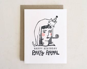 Party Animal Birthday Card // Funny Quirky Modern Minimal Line Drawing Cat Lady Girl Portrait Whimsical Kraft Black White / Paper Pony Co.