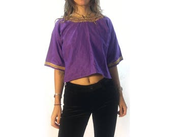 Vintage traditional African wear embroidered crop top // size small medium