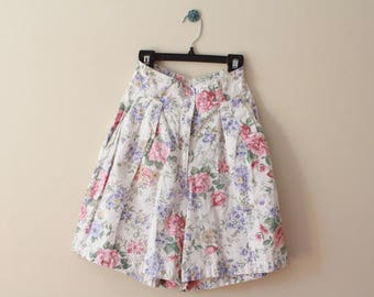 90's Vintage Romantic Rose Print Extra High-Waist Pleated Cotton Shorts Size XS Small