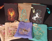Reserved Listing for thevucrew Set of 7 Embroidered Tarot Bags